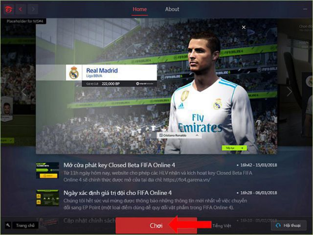 Giao diện đẹp mắt của FIFA Online 4